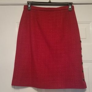 Harold's skirt red size 8 woolblend lined.